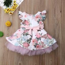 цена на Princess Toddler Newborn Baby Girls Dress Flower Lace Tutu Party Wedding Birthday Dress For Girls Summer Baby Girl Clothing