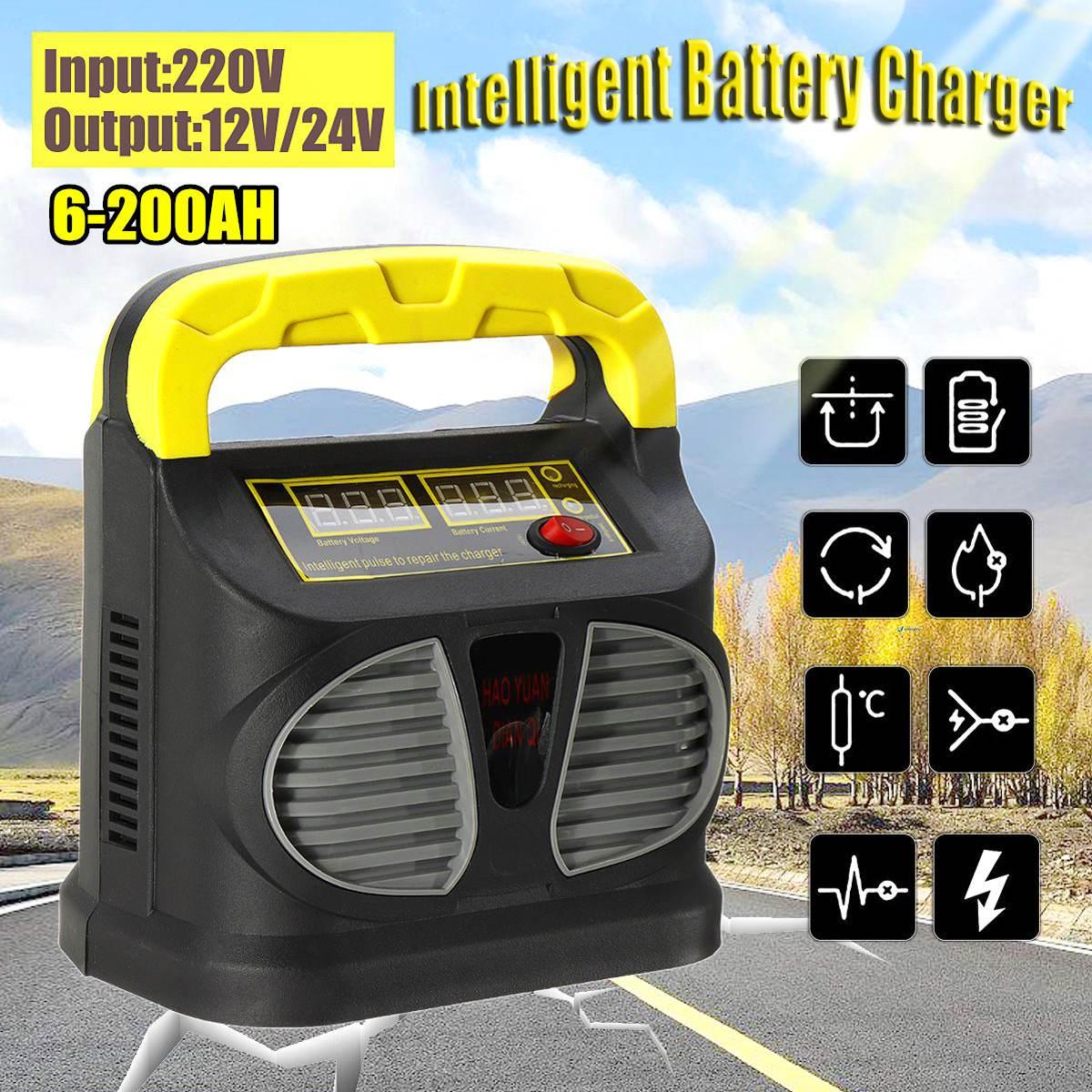 220 V Entrée 12/24 V Sortie écran lcd Portable Automatique De Voiture chargeur de batterie Intelligent Rapide Puissance De Charge De Plomb Acide de L'UE plug