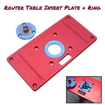 Aluminiowa płytka stołowa routera w 2 pierścienie wkładki routera do ławki do obróbki drewna Router RT0700C czerwony tanie i dobre opinie Router Table Insert Plate Aluminium Alloy ABS Plastic 235*120*8mm