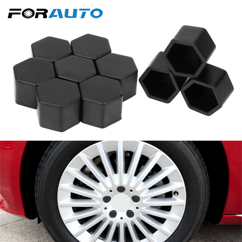 Sourcingmap 20pcs Black 21mm Car Wheel Lug Nut Cap Tyre Hub Screw Bolt Dust Cover Protector