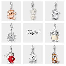 65723ffd4ac5 Oro rosa oso de peluche Koala Oso Polar encantos colgante joyería de plata  de ley 925 lindo regalo para las mujeres las niñas aj.