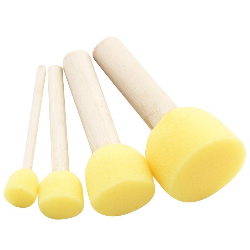 4pc/lot Yellow Sponge Tool Painting Brush Seal Sponge Brush Wooden Handle Children Painting Tool Kids DIY Graffiti Drawing Toys