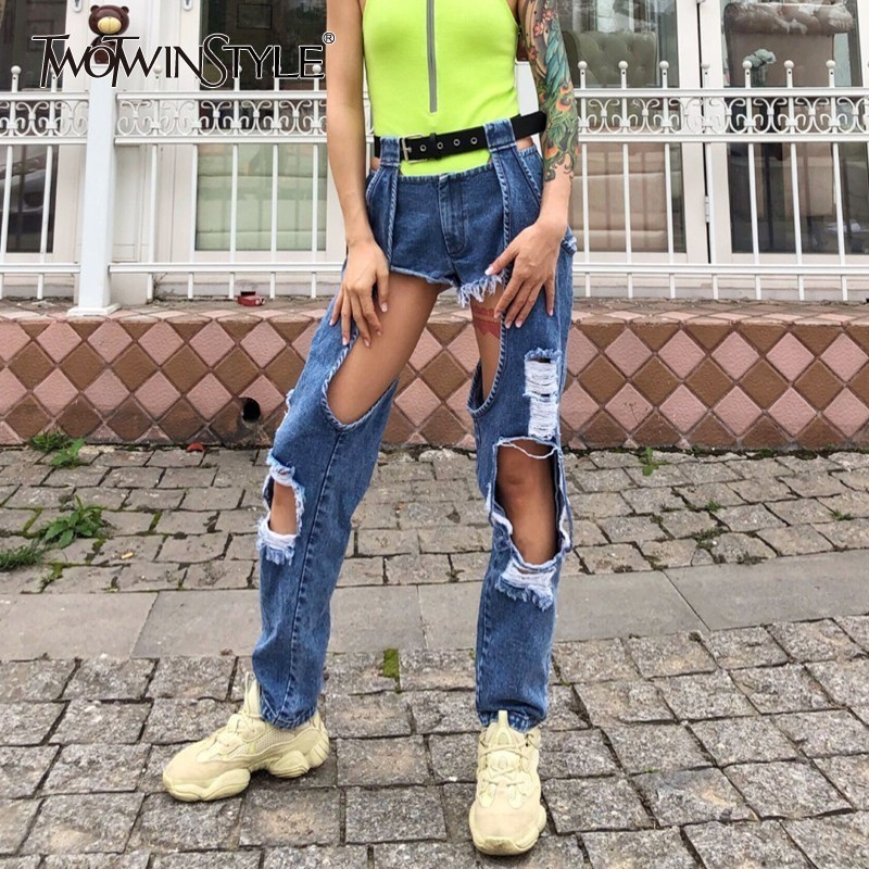 TWOTWINSTYLE Hole Sexy Women   Jeans   Female High Waist With Sashes Irregular Hollow Out Women Pants Korean Fashion Spring 2019 New