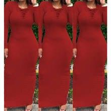 64cbb956f96 Макси платье рубашка для женщин осень зима осень пикантные элегантные  Винтаж повязку вязаный черный Bodycon Длинные платья Сараф..