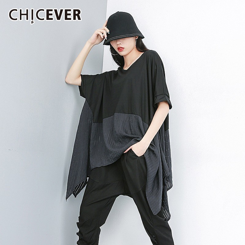 CHICEVER Summer Casual Patchwork Hit Color T-shirt For Women O Neck Batwing Sleeve Loose Plus Size Female Top Clothing 2019 New