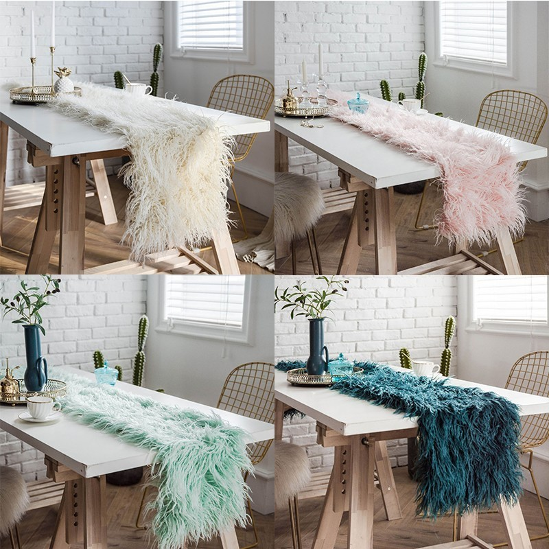 Modern Soft Shaggy Faux Fur Artificial Sheepskin Table Runner Luxury Artificial Wool Table Runners Wedding Banquet Table Decor