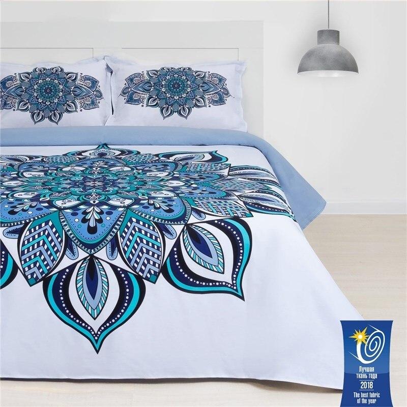 Bed Linen Ethel Euro Mandala 200х217 cm, 220х240 cm, 50х70 + 3 cm-2 pcs, ранфорс 111g/m2 bed linen ethel 1 5 cn imperial 143х215 cm 150х214 cm 50х70 3 2 pcs ранфорс 111g m2