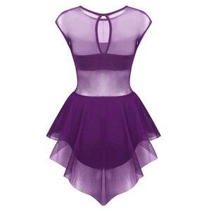 Image 3 - Robe asymétrique sans manches découpée devant, maille asymétrique, pour le Ballet, justaucorps, gymnastique, vêtements de performance pour le Ballet