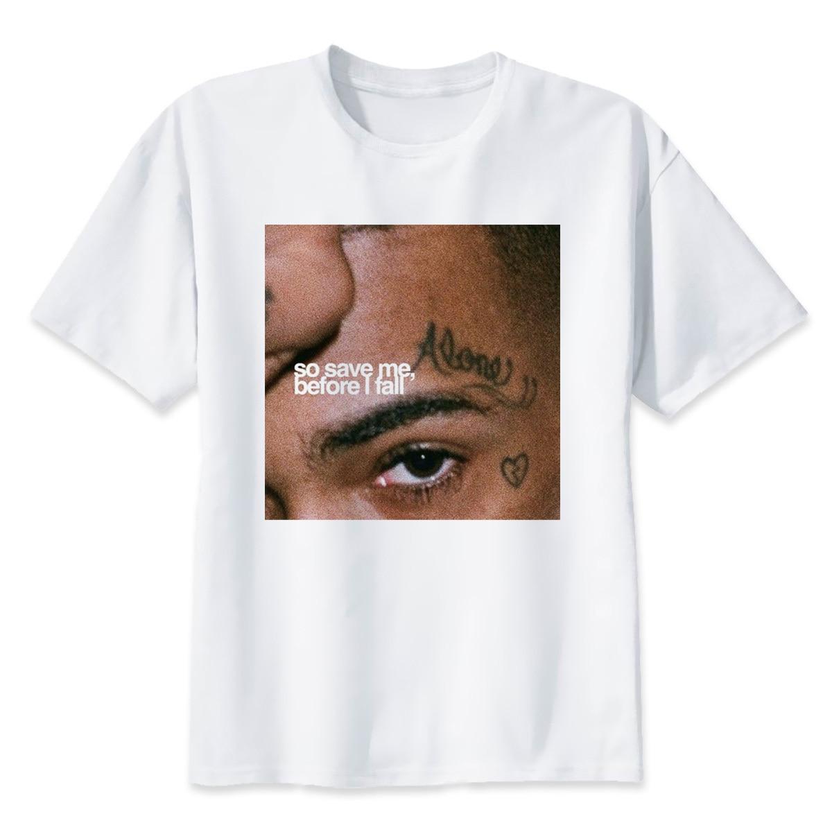 T  -  shirt   Men Hip Hop XXXtentacion Graphic Top Quality 100% Cotton S-XL   Shirts   men Rapper   T     Shirt   So save me Before I fall