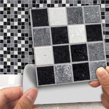 18pcs 10*10cm Self Adhesive Waterproof Black Marble Mosaic Wall Art Kitchen Furniture Tile Sticker Wall Decal