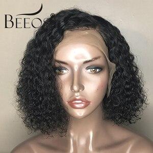 Image 5 - شعر مستعار طبيعي برازيلي قصير مجعد 13*6 من العلامة التجارية بيوس شعر بشري مفرود مسبقًا مع شعر ريمي للأطفال باروكات شعر طبيعي أسود 130% للنساء