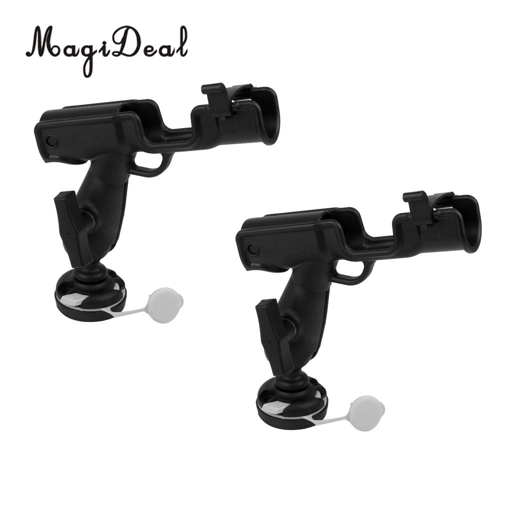 MagiDeal Marine 2 Pcs Rotatable Nylon Fishing Rod Holder Mount Bracket for Kayak Canoe Flatable Fishing Boat Yacht Accessories magideal marine canoe kayak boat fishing pp 3 pole rod holder tube mount bracket rack pliers storage for water rowing boat acce