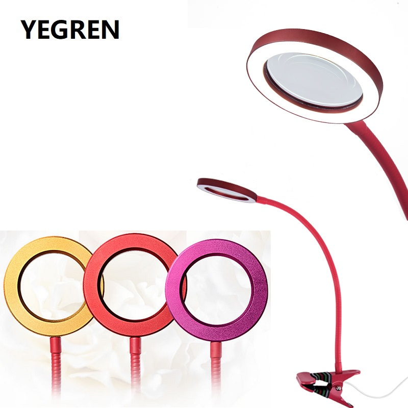 USB 3 5X Beauty Lamp Magnifying Glass Adjustable Brightness Cold Light Hose Magnifier Changeable LED for
