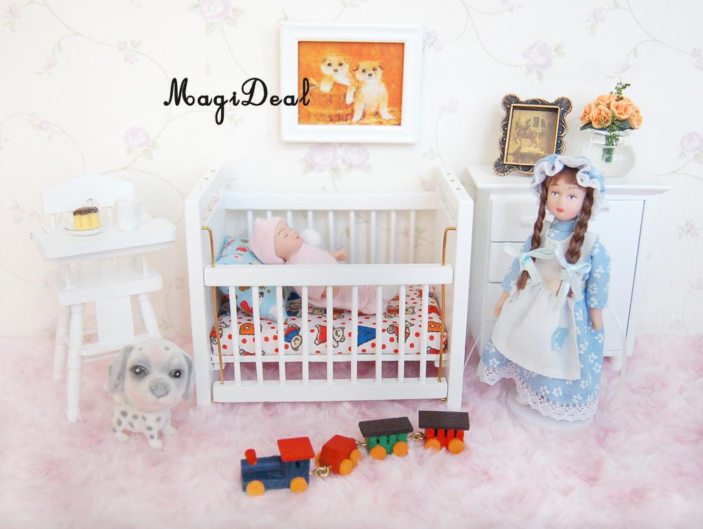Kids Bedroom Furniture Kids Wooden Toys Online: MagiDeal Wood Dollhouse Miniature Furniture Wooden Baby