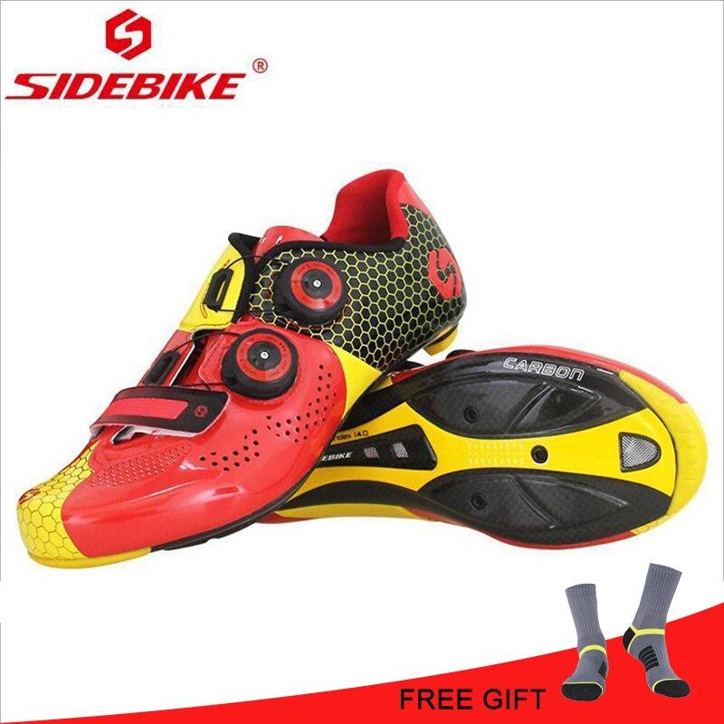 Sidebike Scarpe Ultraleggero In Fibra di Carbonio In Fibra di Carbonio Strada di Guida Su Strada Scarpe Da Uomo di Sport Rosso Nero Equitazione Blocco Scarpe Scarpe Da Ciclismo