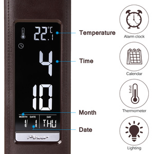 Image 4 - 5W Business LCD Display Alarm Clock LED Desk Lamp Dimming Control Folding Leather Texture Table Calendar 3 Levels Brightness
