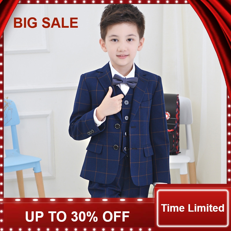 2018 enfants costume bébé garçons costumes enfants Blazer garçons costume formel pour les mariages garçons vêtements ensemble vestes + chemise + pantalon 4 pièces 4-14Y