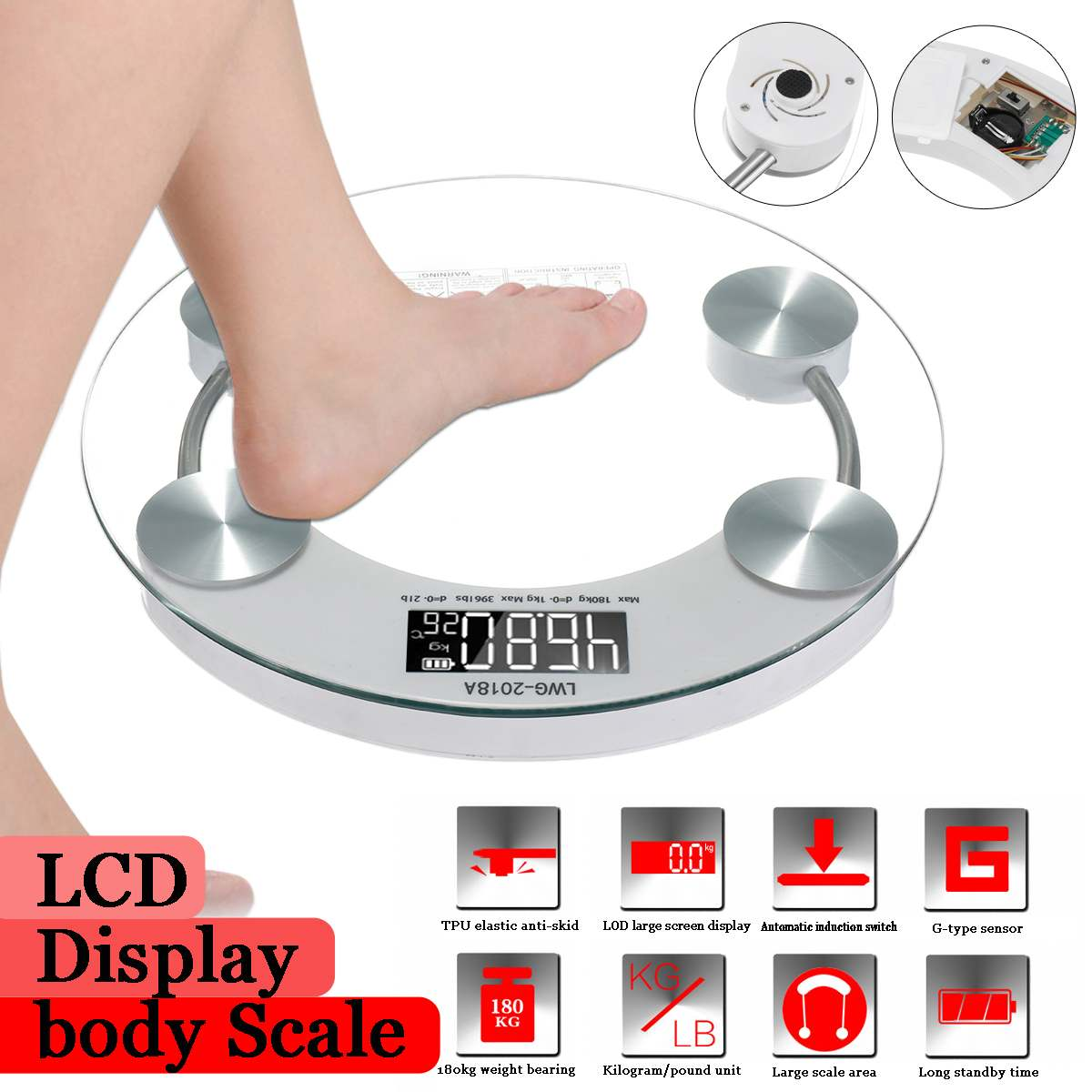 Digital-Weight-Scale Lcd-Display Body-Scales Glass Bathroom Electroni 180KG Gym Toughened