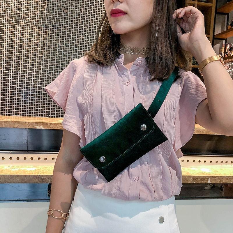 2018 Casual Waist Bag Women Velour Waist Fanny Pack for Women Fashion Retro Velvet Hip Bum Belt Bag Blue Black