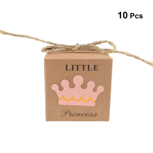 10PCS  Gift Wrap Storage Kraft Paper Retro Crown Pattern Gift Packaging Boxes with Rope for Wedding Baby Shower Party