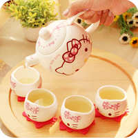 hello kitty Jindezhen Cartoon Ceramics Ceramic Tea Pot Exceed Adorable Lovely Cat Porcelain Teapot Set Samovar 5pcs
