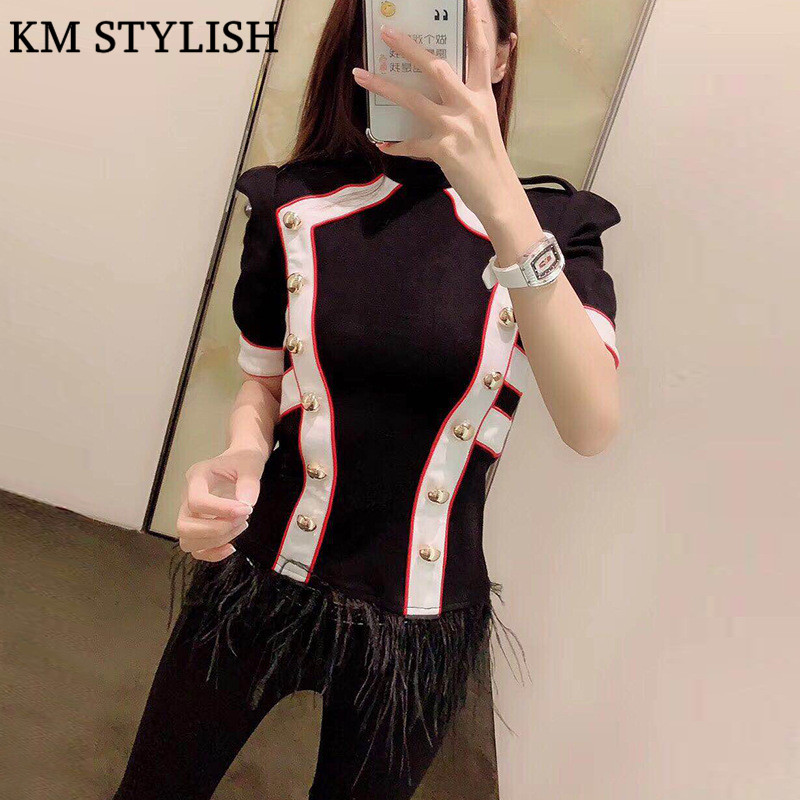 Designer Brand M.W New Stand Collar Color Inch British Double Breasted Hem Ostrich Feather Mid Sleeve Black White T-shirt Top