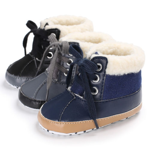 Newborn Toddler Shoes Baby Boy Ankle Snow Boots Crib Shoes Anti-slip Sneakers