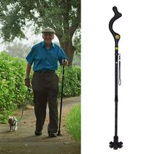 Magic Cane Folding Safety Walking Stick 4 Head Pivoting Trusty Base For Old Man T Handlebar Trekking Poles Cane New