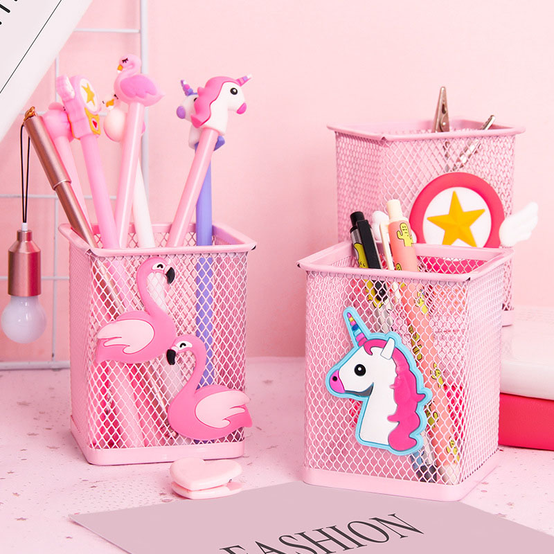 Pink Metal Pen Holder Office Organizer Cosmetic Square Pencil Pen Stand Holders Stationery Container Office School Supplies