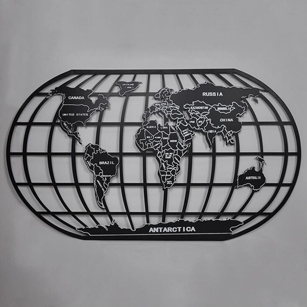 58 cm X 100 cm Mundo Mapa Preto Rack de Ferro Arte Da Parede Decoração Da Parede Escultura Home Office Café