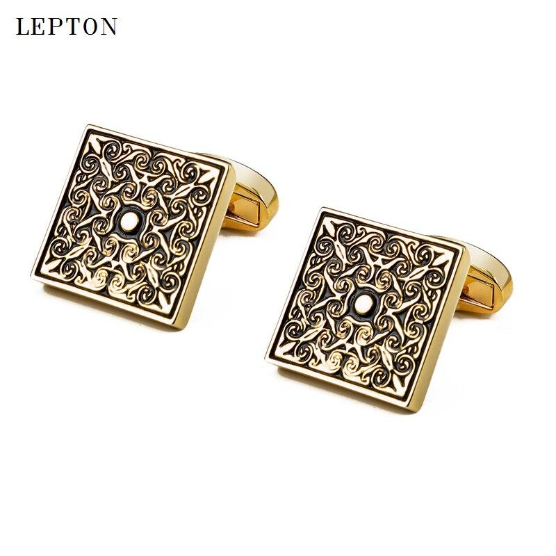 High Quality Square Gold Cufflinks for men 39 s abotoaduras gift Shirt cuff button Retro Groom Wedding Cuff links gemelos cufflinks in Tie Clips amp Cufflinks from Jewelry amp Accessories
