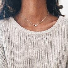 HOMOD Fashion Tiny Heart Choker Necklace For Women Gold Silver Chain Smalll Love Pendant Bohemian Chocker Gift