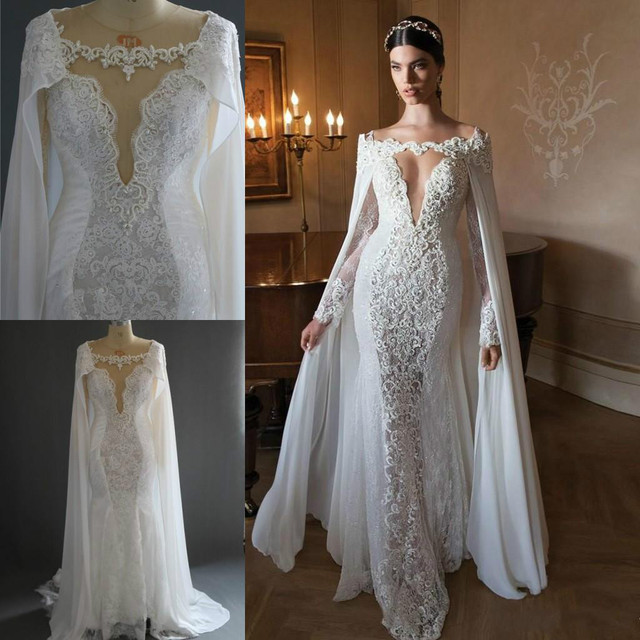 16218facb64 Retro Lace Long Sleeves Wedding Dresses With Capes 2018 Sexy Illusion  Mermaid Sweep Train Bridal Gowns Image Wedding Gowns