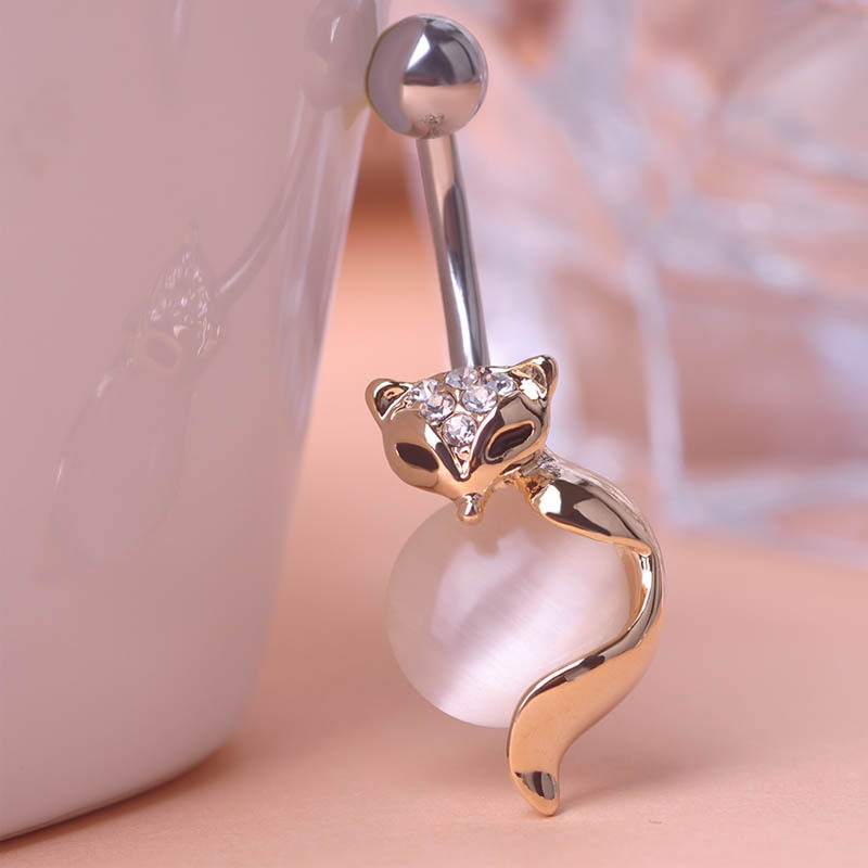 Gorgeous Gold Animal Fox CZ Crystal Head Pink Opal Navel Belly Button Bar Ring