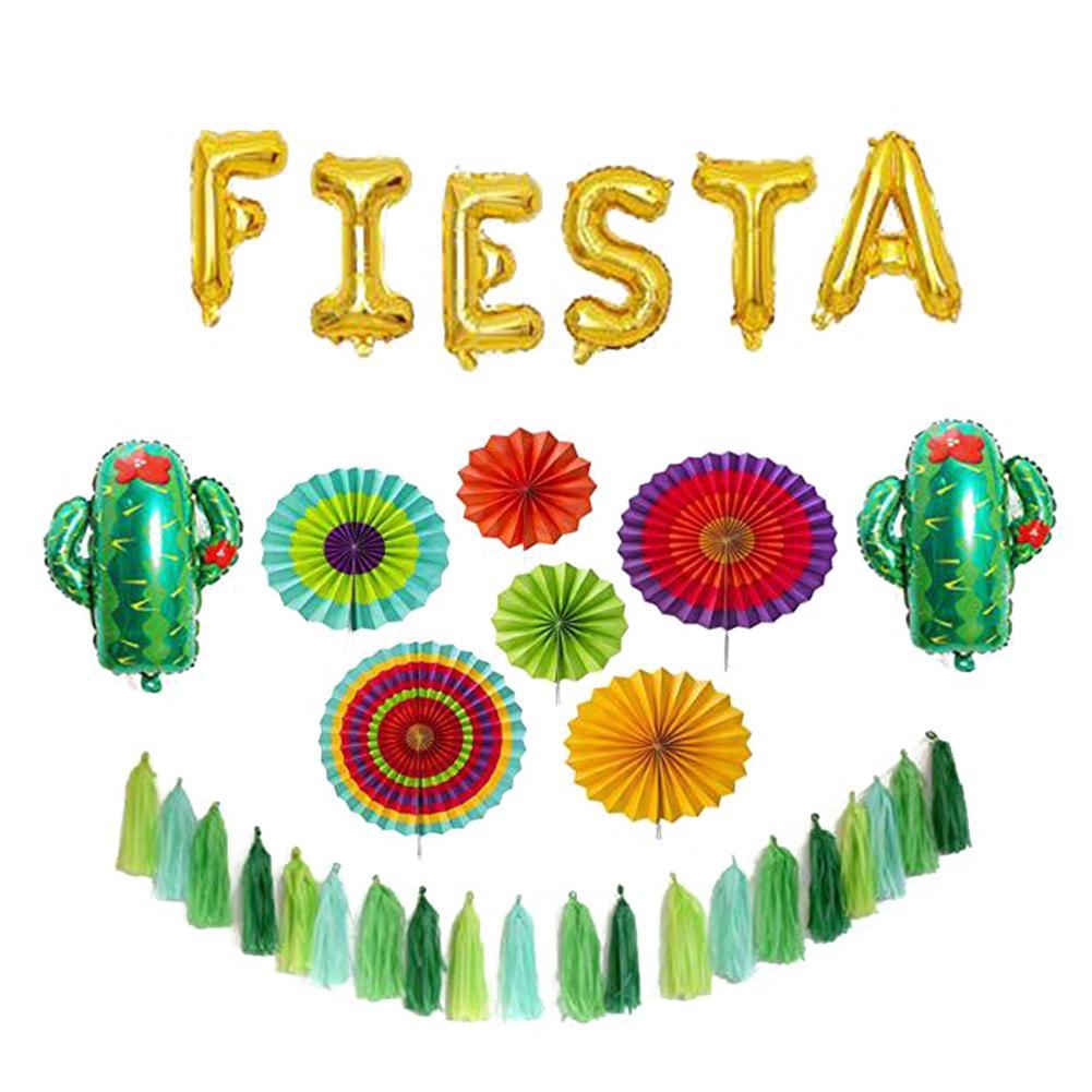 Fiesta Party Supplies 6 Colorful Paper Fans, Gold Foil