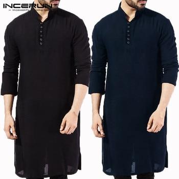 INCERUN Casual Men Shirt Cotton Long Sleeve Stand Collar Vintage Solid Stitched Long Tops Indian Kurta Suit Pakistani Shirt 5XL