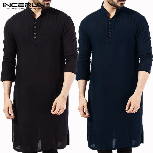 INCERUN Casual Men Shirt Cotton Long Sleeve Stand Collar Vintage Solid Stitched Long Tops Indian Kurta Suit Pakistani Shirt 5XL