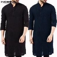 INCERUN/Повседневная мужская рубашка из хлопка с длинными рукавами и стоячим воротником, винтажная однотонная сшитая длинная рубашка, индийск...