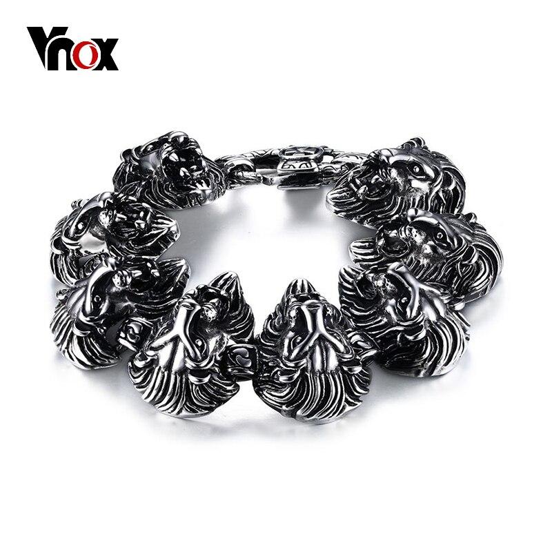 Vnox 9 pouces Lion Punk Bracelets pour hommes hip-hop Bracelets et Bracelets pour hommes Top qualité en acier inoxydable