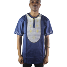 Africa Navy Blue Brave Plaid Embroidered Men`s Ethnic Tops Short Sleeved Henley Shirts for Summer Wearing
