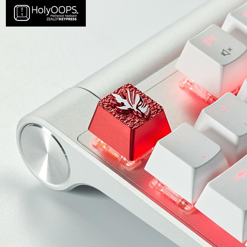 1pc HolyOOPS Death False Face Aluminum Alloy Key Cap Customization Creative Metal Machinery Keyboard Keycap R4