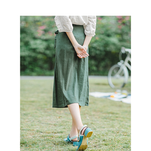 Image 2 - INMAN, летняя, с высокой талией, в стиле ретро, с определенной талией, со шнуровкой, тонкая, повседневная, универсальная, трапециевидная, Женская юбка