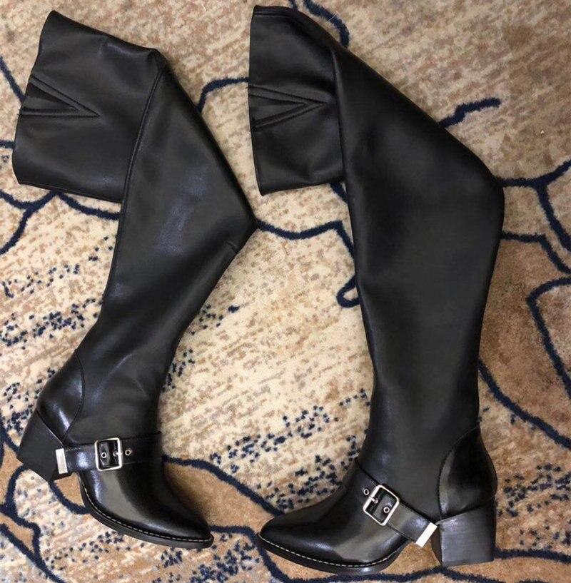 Hohe Stiefel As Leder Mujer Spitz Heißer Frau Über Seite Schwarz Knie Pic Heels Schuhe Zip Die Sqaure Oberschenkel wxqxXAaFyY