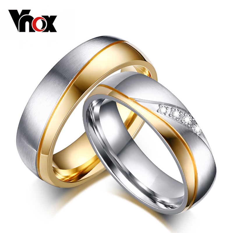 Vnox Rings Wedding-Ring Promise Couple 316l-Stainless-Steel Gold-Color Women Jewelry