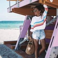 Color Block Long Sleeve Stripe T-Shirt Striped Rainbow O Neck Basic Tshirt Womens Top Casual Ladies Black White