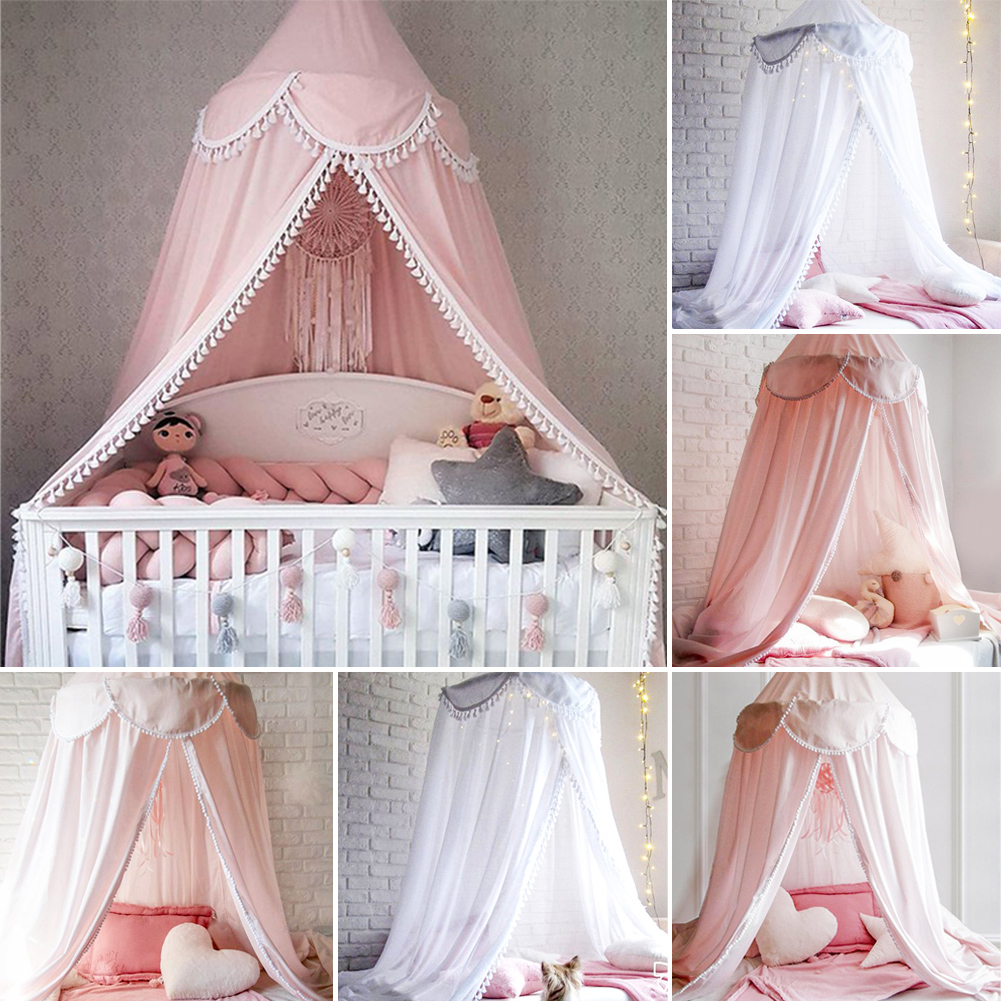Mother & Kids Friendly 2019 New Lovely Kid/baby Bed Pink Tassel Canopy Bedcover Mosquito Net Curtain Bedding Round Dome Tent Lustrous Surface Baby Bedding