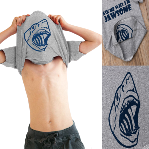 Dzieci szary chłopiec nadruk z wielorybem bawełniany t-shirt z krótkim rękawem koszulki z literami zabawna koszulka koszula