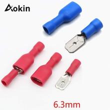 100 шт. FDD 1,25-250 MDD 6,3 мм красный синий гнездовой +% 2B штекер лопата изолированный электрический обжимной клемма разъемы проводка кабель штекер
