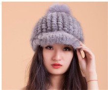 women's real mink fur knitted genuine fur winter warm hats visor women winter cap with visor with fur pompom white gray  H221