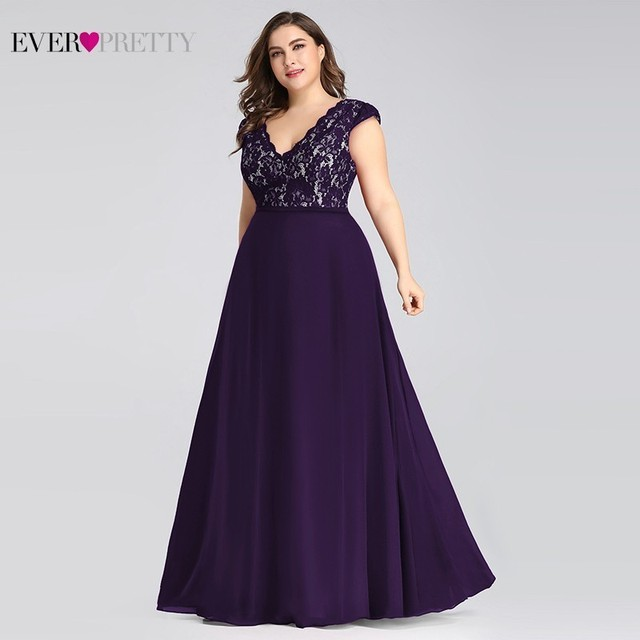 Plus Size Prom Dresses Long 2019 Ever Pretty EP07344 Elegant Burgundy A-line Sleeveless Lace Appliques V-neck Vestidos De Gala 3